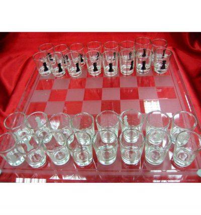 Шахматы с рюмками «большие»