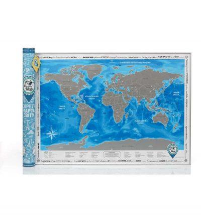 Скретч-карта мира Discovery Map World на украинском языке