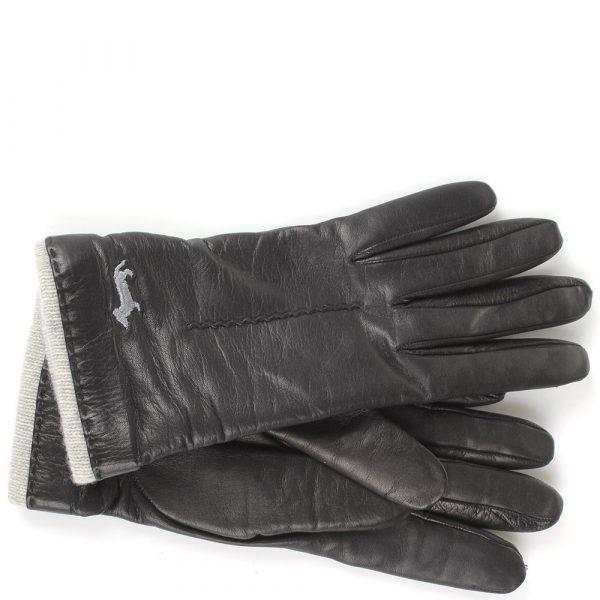 Женские перчатки Harmont&Blaine из натуральной кожи черного цвета с декоративной строчкой