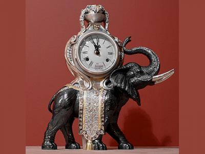 Часы настольные «Черный слон» Linea Argenti