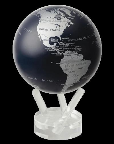 Глобус самовращающийся «Политическая карта», черный с серебром