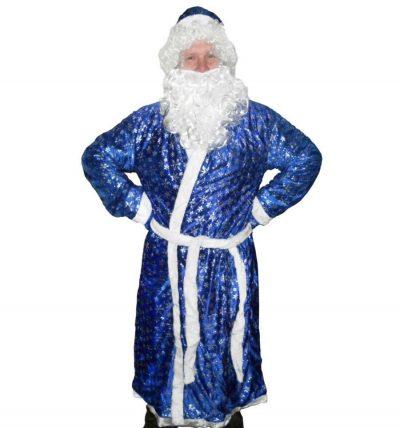 Карнавальный костюм «Деда мороза синий с рисунком»