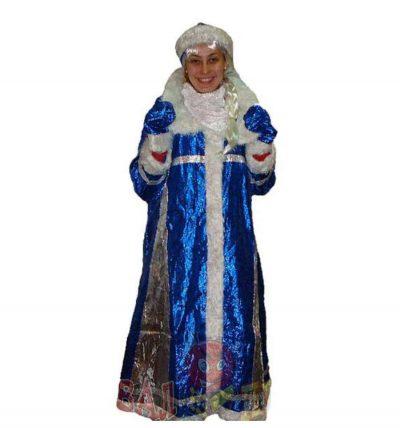 Карнавальный костюм «Снегурочка» (синий, золотой)