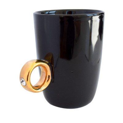 Чашка «Золотое кольцо» (черная)