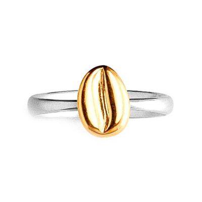 Серебряное кольцо в виде кофейного боба (золото)