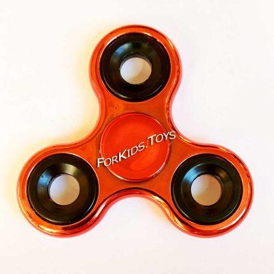 Спиннер металлический красный Fidget Spinner хромированный