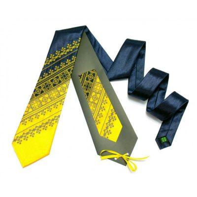 Галстук с вышивкой «Желто-синий дуэт»