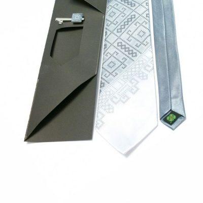 Мужской вышитый галстук с зажимом «Серое трио»