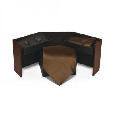 Набор 3 в 1: галстук + платок + запонки (коричневый)