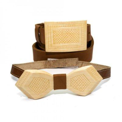 Набор: деревянная бабочка + ремень с деревянной пряжкой (RDB-3901)
