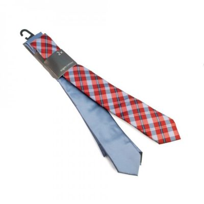 Набор галстуков 2 в 1 (голубой, красный в клетку)