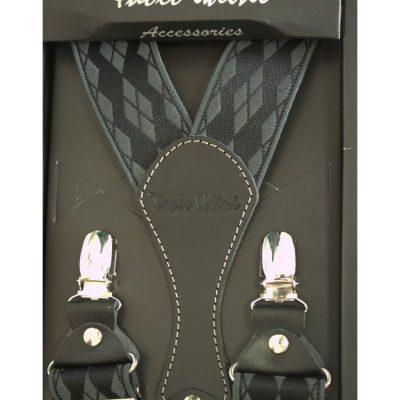 Подтяжки подарочные мужские серо-черные в ромбики Y образные
