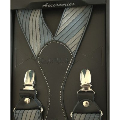 Подтяжки подарочные мужские серые в полоску Y образные