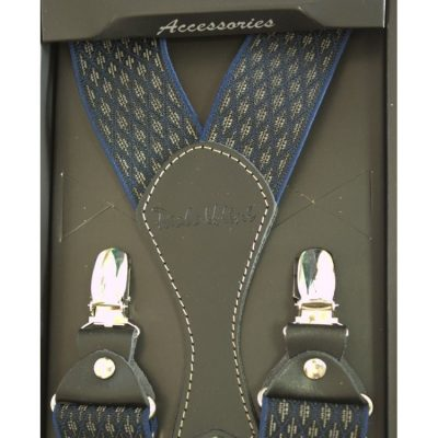 Подтяжки подарочные мужские синие в ромбики Y образные