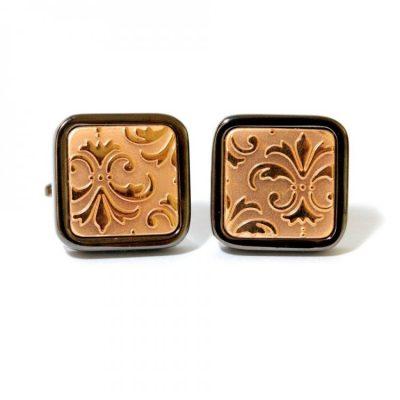 Запонки Handmade квадратные с узором