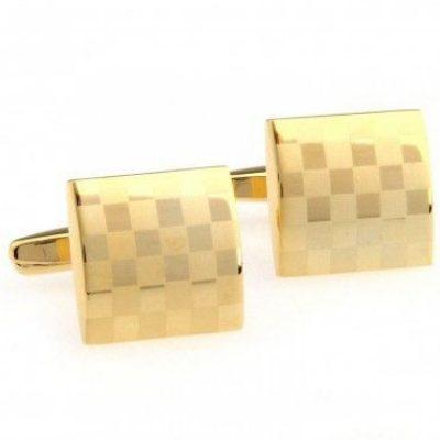 Запонки «Золотистые квадратики» Handmade