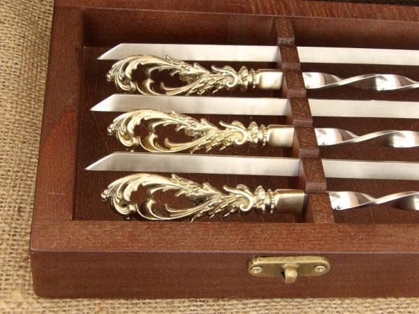 Комплект шампуров «Морской бриз» в кейсе из натурального дерева