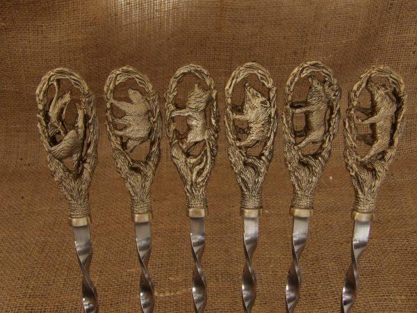 Комплект шампуров «На охоте» в кейсе из натурального дерева