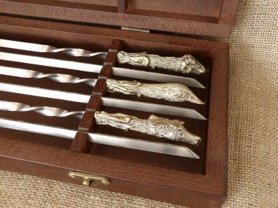 Комплект шампуров «Охотничий трофей» в кейсе из натурального дерева