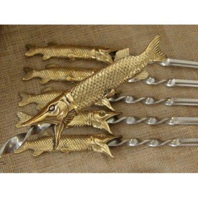 Шампура подарочные «Царский улов» в колчане из натуральной кожи