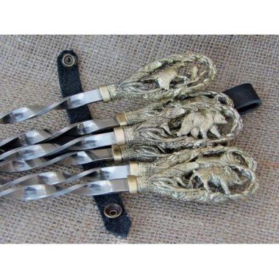 Шампура подарочные «На охоте» в колчане из натуральной кожи