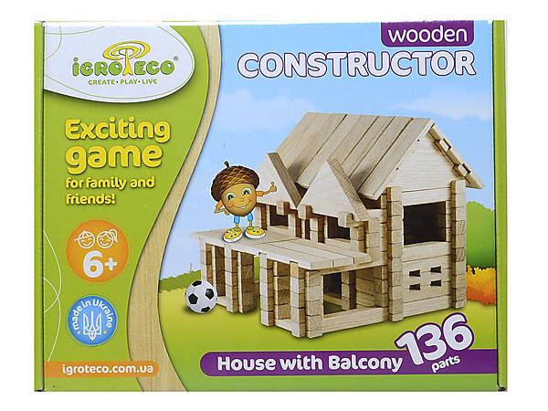 Деревянный конструктор Игротеко «Домик с балконом»