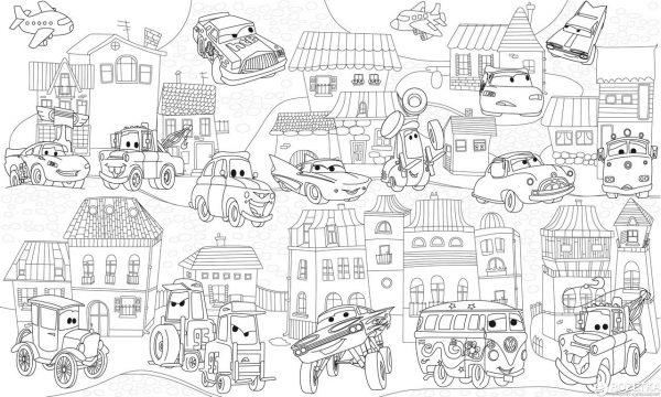 Обои-раскраски Pasportu «Город с Тачками» 60х100 см
