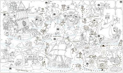 Обои-раскраски «Пиратская карта» 60х100 см