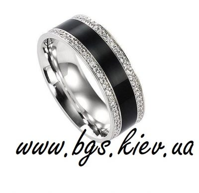 Обручальное кольцо с эмалью из белого золота