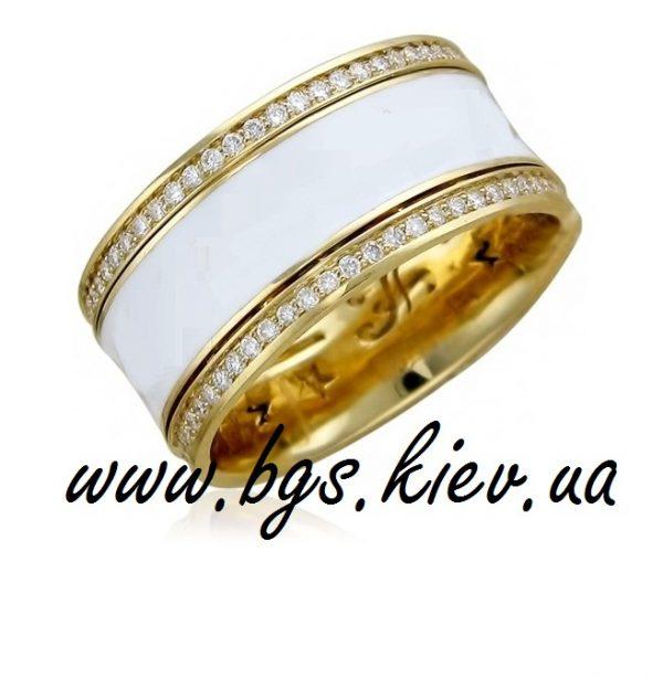 Обручальное кольцо с эмалью из желтого золота «Волшебный сад»