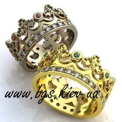 Обручальное золотое кольцо в виде короны
