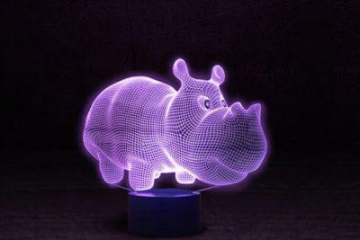 Светильник-ночник 3D «Бегемот» 3DTOYSLAMP
