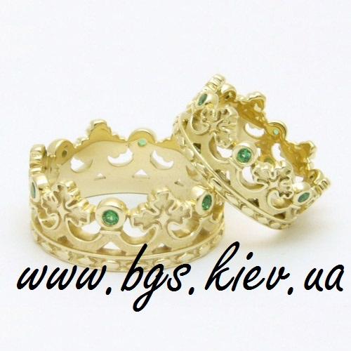 Золотые обручальные кольца «Короны» копия Carrera y Carrera
