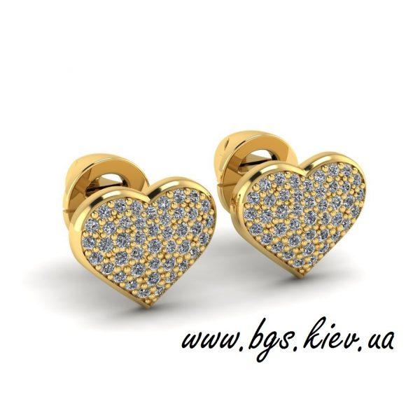 Золотые серьги в форме сердца «Мисс Тиффани»