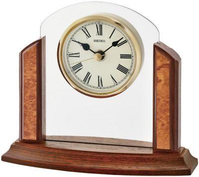 Настольные часы Seiko (дерево+стекло)