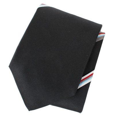 Черный галстук DKNY в тонкую разноцветную полоску