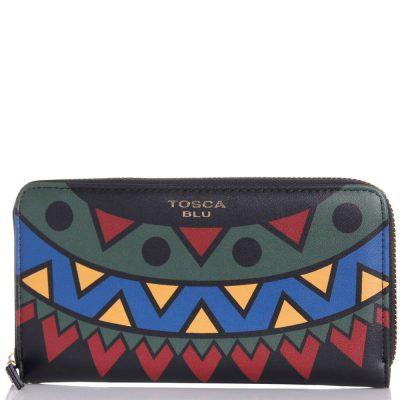 Черный кошелек с ярким принтом Tosca Blu «Fanny Winter»