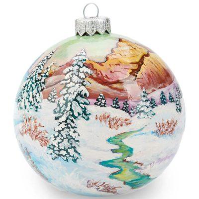 Елочный шар FaVareli «Лисичка-сестричка» с ручной росписью