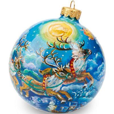 Елочный шар FaVareli «Новый год спешит» с ручной росписью