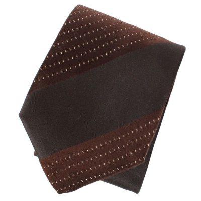 Галстук DKNY коричневого цвета в синюю полоску с мелкими точками