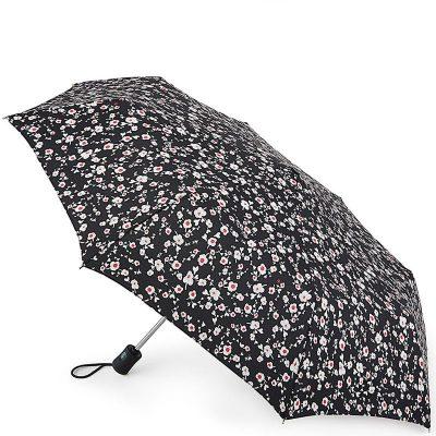 Складной зонт Fulton черного цвета в мелкий цветочек