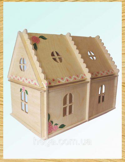 Кукольный домик 2 этажа с росписью