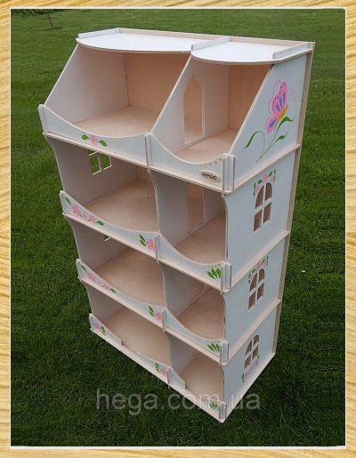 Кукольный домик-шкаф Hega с росписью (белый)