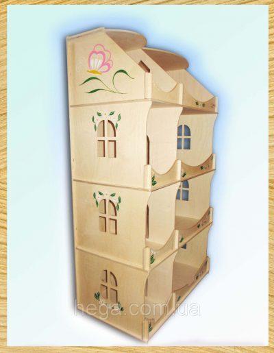 Кукольный домик-шкаф с росписью Hega (3 этажа)