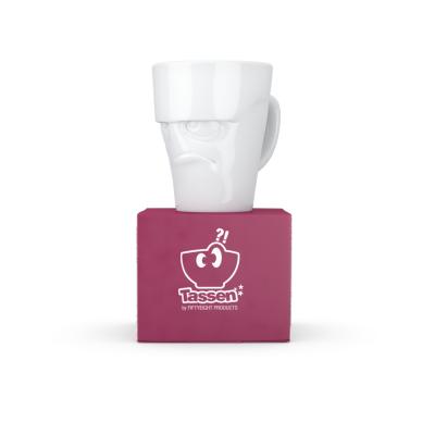 Чашка c ручкой «Сердитое лицо»» глянцевая белая