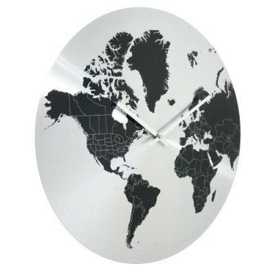 Настенные часы «Карта мира» Invotis, серебристые