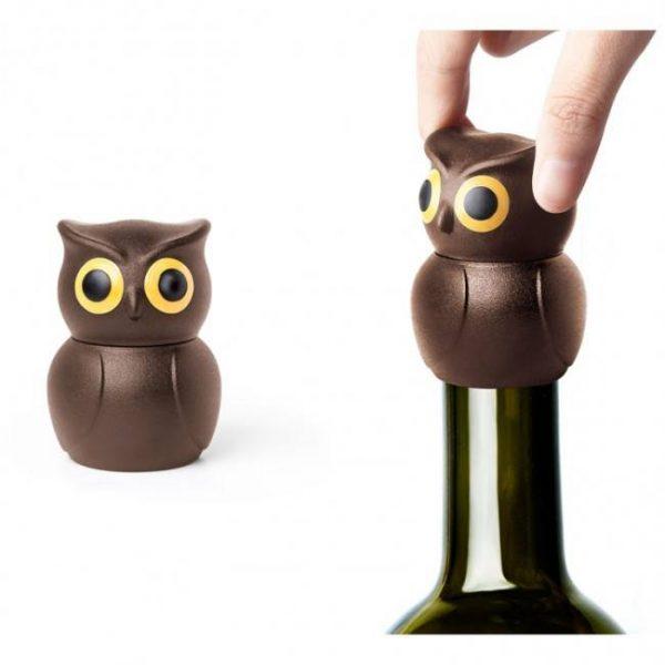 Стоппер для бутылок «Owl Stopper» Qualy коричневый