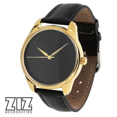 Часы наручные «Черный минимализм» (черный-золото)