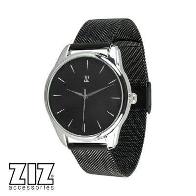 Часы наручные «Белым по черному», браслет из нержавеющей стали, черный