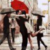 Картина по номерам DIY Babylon Premium «Поцелуй при встрече» (на цветном холсте)